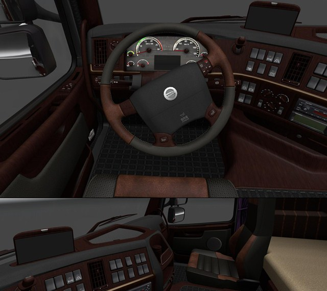 Euro Truck Simulator 2 Mods: new Volvo interior by JCV  interiors