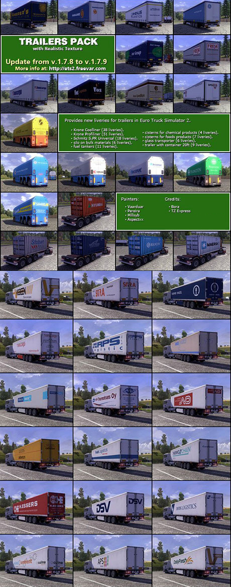 Euro Truck Simulator 2 Mods: TRAILER PACK with Realistic Textures v.1.7.9  skins